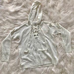 H&M - Ivory Hooded Lace-up Sweatshirt